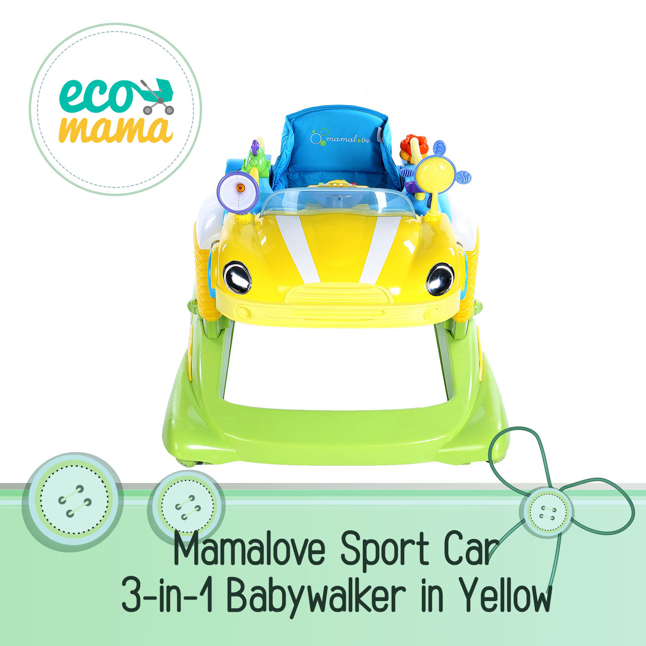 Mamalove Sport Car 3 in 1 Babywalker Yellow