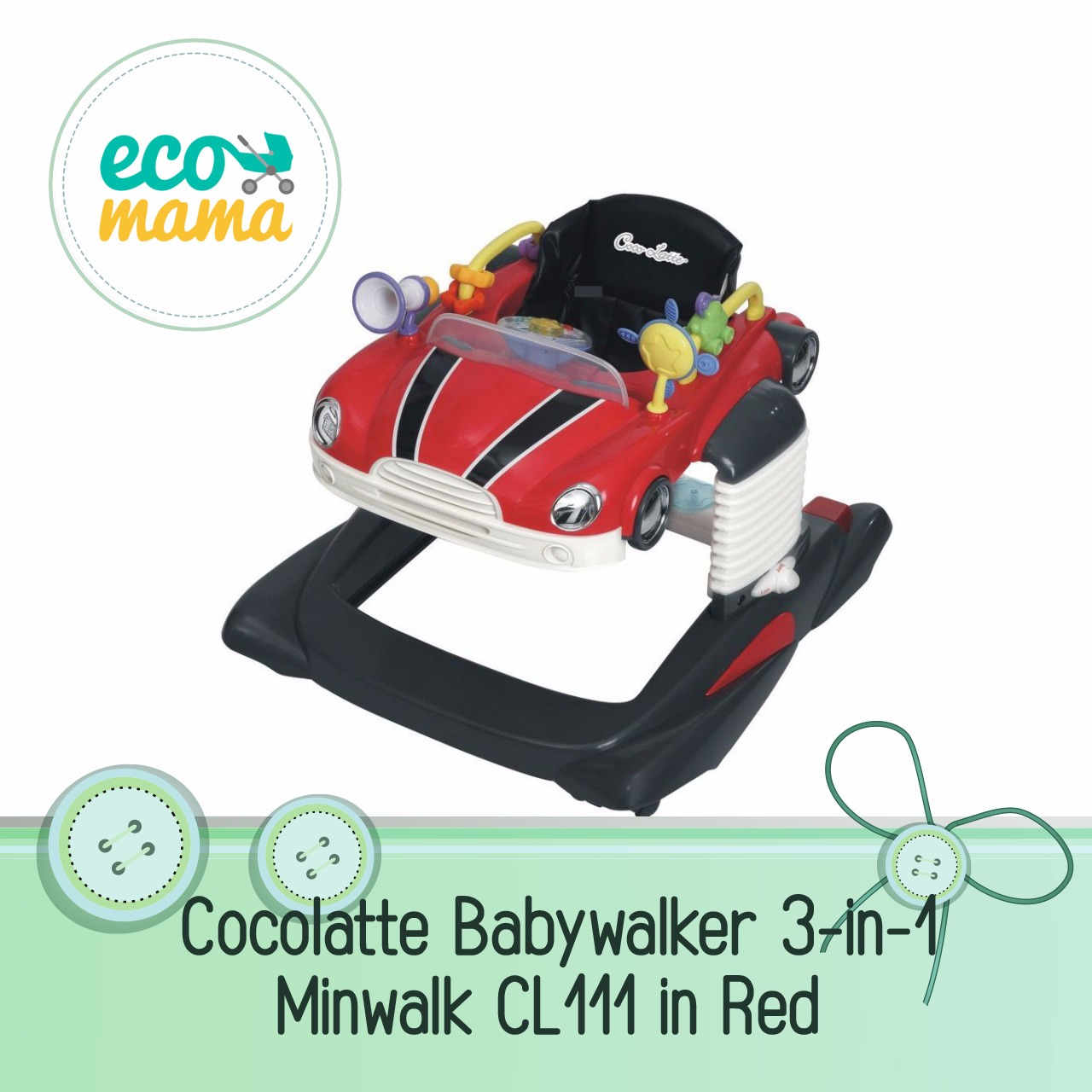 Cocolatte 3in1 Minwalk CL111 Walker in Red