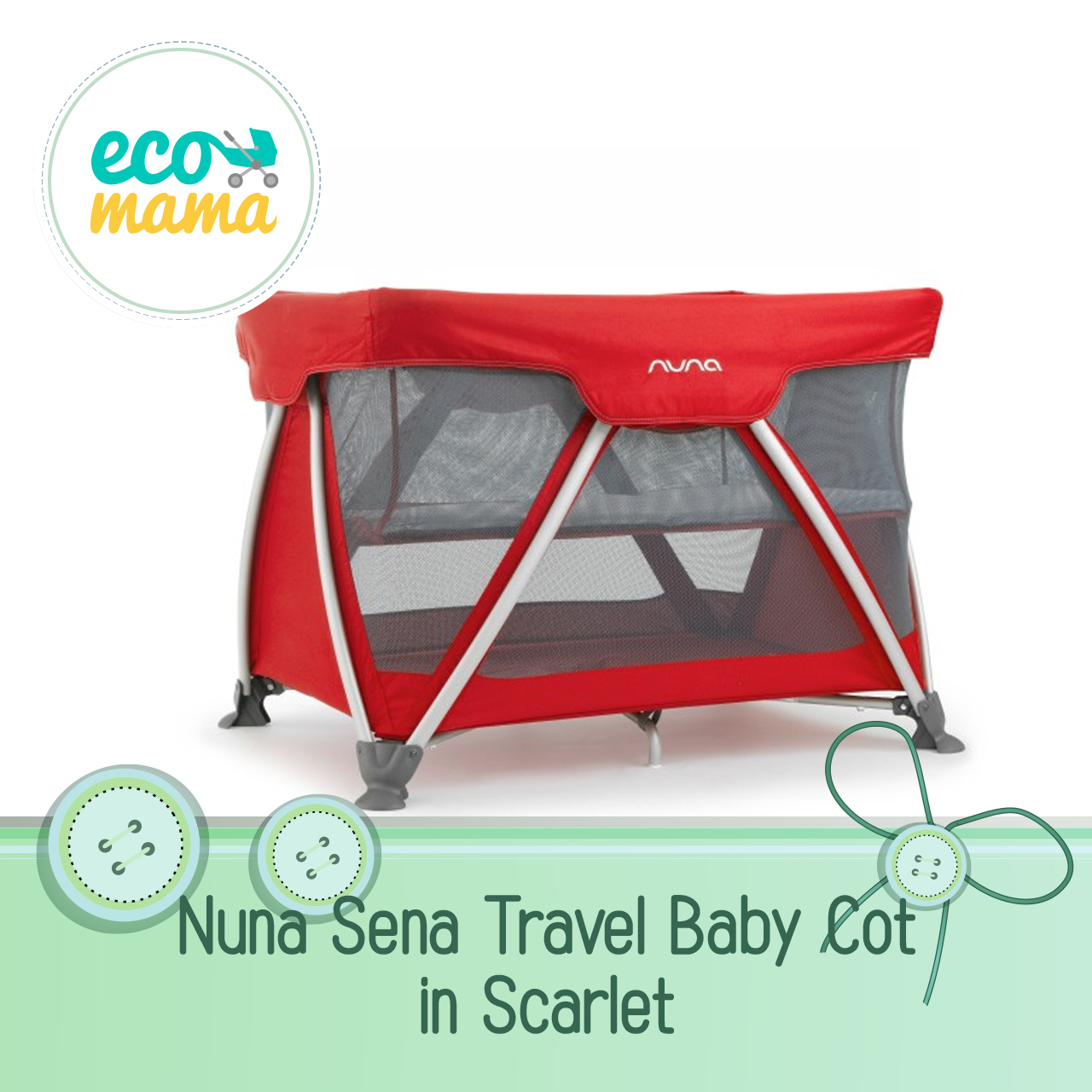 Nuna Sena Travel Crib in Scarlet